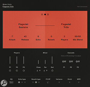 AViolin combo patch allows the user to transition between harmonic sustains and harmonic trills.