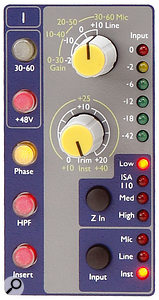 Four impedance options are available for the mic inputs on each channel, and are selected via the 'Z In' button.
