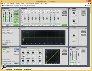 Fohhn's Audio Soft application allows you to control the D-2 1500's DSP functions remotely over a  network.