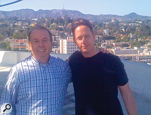 Legendary engineer Geoff Emerick (left) and Craig Parker Adams on the roof of Capitol Records.