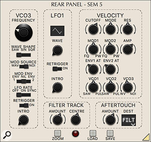 The rear panel introduces all manner of new facilities: an extra VCO, more extensive controls for the main LFO, filter tracking and sophisticated performance capabilities.