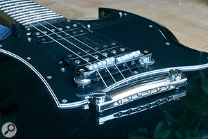 The ResoMax bridge fitted to the author's Gibson SG.