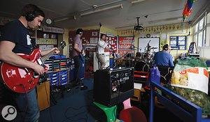 """Hello Bourn Primary School. Are you ready to ROCK?"" Our recording session gets under way."