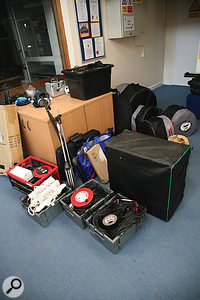 Our recording gear for the session, freshly unloaded from the car, sits in the reception lobby that we nearly used for recording.