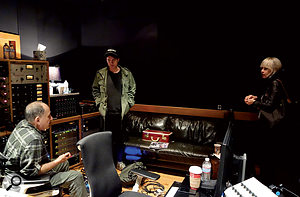 Richard Gottehrer (left) at East West Studios in LA, producing a Dum Dum Girls session.