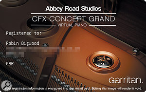 Authorising CFX Concert Grand involves dragging a  web-generated image onto the user interface. It's unusual, but also quick and painless.