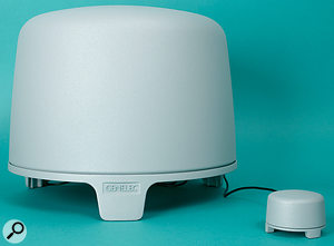 The distinctive looking 5040A subwoofer can be used with the 6010As.