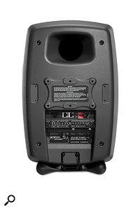 The rear panel houses the analogue and digital input connectors, as well as the Ethernot ports that allow each speaker to be connected to a  SAM network, and DIP switches that allow for manual room–placement compensation.
