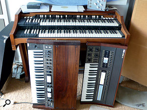 More vintage keyboards in Will Gregory's studio: a Hammond A100 is fronted by Korg Sigma and Lambda polysynths.