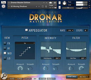 Dronar's arpeggiator functions are quite novel, allowing you to blend an arpeggiator pattern with the sustained element of your sound.