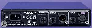 The presence of both XLR and jack I/O options should make it easy to plumb the M102 into any studio, and there's also a TRS socket to cater for the summing of the side-chain signal, in order to use a pair of M102s for compression of stereo sources without any unwanted shifting of the phantom centre.