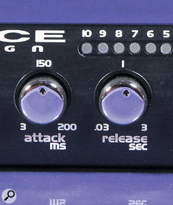For applications when the setting of attack and release times is better done by ear — such as when tracking — the knobs afford the user adecent degree of control, but as there are no detents or accurate markings, it might be useful to have arecall sheet handy when mixing!