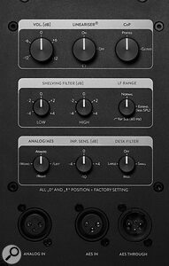 The Type 07 Mk2 can accept either balanced analogue or digital (AES3) signals. All processing—including the crossover, shelving filters, desk EQ options, and the Lineariser—is performed using the speaker's internal DSP.