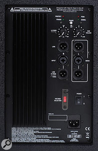 The rear panel of the TNS 215A, featuring left and right inputs and outputs, filter controls and polarity-invert switch.