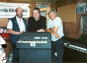 John Bradley, Martin Smith and Robert Webb with the pre–restoration Half'A'Tron.