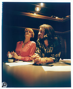 Florence Welch and Emile Haynie during the making of High As Hope.