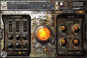Damage's EQ/Filter page, featuring the big yellow 'Punish' knob for added saturation, compression and distortion.