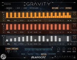 Heavyocity's new Motion step sequencer can automate tempo–sync'ed arpeggios, volume swells, rhythmic pulsing patterns, auto–panning, stutter and glitch effects for three independent patches.