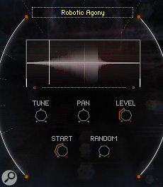 The Sample tab has controls for the tuning, level, pan position and start point of individual samples.