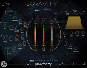Gravity's Pitch tab shows the pitch bend setting for three sample layers.