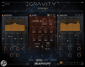 Gravity's EQ/Filter section contains powerful tone–shaping controls. The filter can be modulated with an LFO to create dubstep–style wah effects and tonal rises.