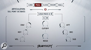 'Traditional' instruments feature a  separate synth architecture, with per-voice filters and modulators for each of the three mic perspectives and ready-mixed Full blend.