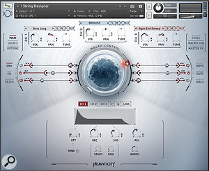 String Designer leaves tradition behind with a  three channel/oscillator design and ample facilities for sound mangling. The mod wheel-driven macro control adjusts multiple parameters simultaneously and is capable of smooth and drastic sound morphs.