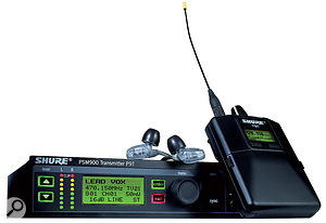 A typical in-ear monitoring system, comprising a half-width rack radio transmitter, a belt-pack receiver and a set of earbuds.