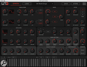 The UNO Synth Editor provides complete control of all synth parameters and runs stand‑alone or as a plug-in in your DAW.