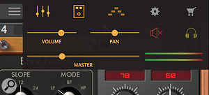 The Part Control Panel allows you to quickly adjust the volume/pan of the currently selected Part.