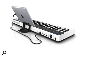The iRig Keys I/O comes with a handy iPad stand.