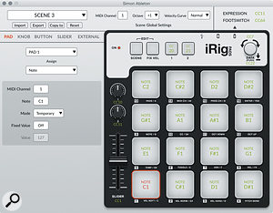 The dedicated iRig Pads editor software.