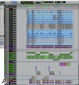 This composite Screencapture shows the entire Pro Tools session for the mix of 'When The Curtain Falls'. You will find a hi-res ZIP file of this screenshot in the righthand sidebar.