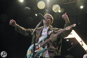 "Rivers Cuomo going ""Back to the Strat with the lightning strap""..."