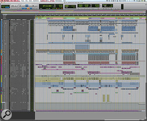 "The 24–bit, 48kHz Pro Tools session for 'Misbehavin' contains no fewer than 73 tracks. From top to bottom, these comprise 24 beatbox tracks (blue), 12 body percussion tracks (finger snaps, claps and foot stomps), two bass vocal tracks (dark purple), eight lead vocal tracks (light purple), 10 main backing vocal tracks (yellow–green and light blue), including two group aux tracks (green), five incidental word tracks (various colours), a  choir track (dark blue), seven bridge tracks (yellow), five aux effect tracks (green) and one master track (red). ""I  received this session from Kuk, and overall it was pretty straightforward,"" says Ed Boyer. ""I  moved things around a  bit to make it fit in my workflow, but other than that I  went straight into mixing."""