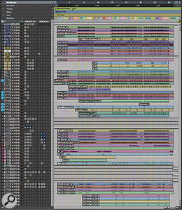 This composite screenshot shows Billy Decker's Pro Tools mix session for 'Losing Sleep'. All the kick drum tracks and most of the snare tracks are prints of Decker's replacement samples.