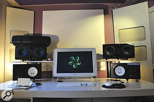 There's no conventional mixing desk at Rhubarb, where monitoring is handled by Yamaha NS10 and Adam P33a monitors, plus aPanasonic ghetto-blaster.
