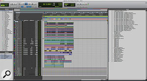 The complete Pro Tools session for 'All About That Bass'. Drum parts are at the top, followed by an audio render of the all-important upright bass track, the other pitched instruments, then the four lead vocal tracks and, finally, vocal harmonies.