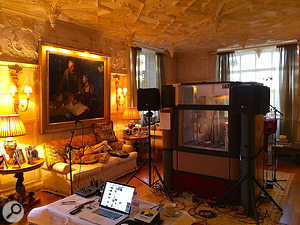 For recording Rod Stewart's vocals, Kevin Savigar set up an impromptu booth using acoustic screens, with his own laptop rig positioned to facilitate communication between the pair. This shot was taken at Stewart's English home, Wood House.