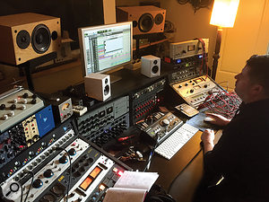 Though there's no conventional mixer, Exchequer is packed full of unusual analogue outboard. Visible are several items that played important roles on 'Take Me To Church', including Rob Kirwan's Inward Connections Vac Rac and Manley Massive Passive (under the left white speaker), and Empirical Labs Fatso (under right white speaker).