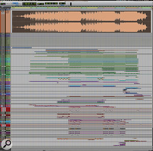 This composite Pro Tools screen shows the full 'Hymn For The Weekend' Edit window, with Rik Simpson's 'testbed' mix expanded at the top. Note the 'sync pip' pulse at the start, which ensures that timing accuracy is not lost between the various tracks and stems.