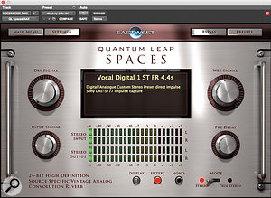 Though multiple delay and reverb plug–ins were used throughout the song, the main reverb on Chris Martin's lead vocal came from EastWest's QL Spaces plug–in.