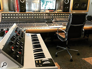 The console at Riksmixningsverket, with Benny Andersson's custom white Minimoog.