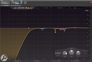 This instance of FabFilter's Pro‑Q3 on the vocal insert chain implements a number of small cuts using dynamic EQ to tame momentary peaks and resonances.