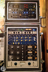 Although he does not use a  conventional large–format mixing console, Claudius Mittendorfer still uses a  lot of analogue outboard gear in his mixes. This rack contains, from top: API 2500 and MAS Overstayer compressors, SPL Transient Designer, Chandler Germanium Tone Control (x2), Urei 1176LN compressor (x3) and Summit TLA100 compressor.