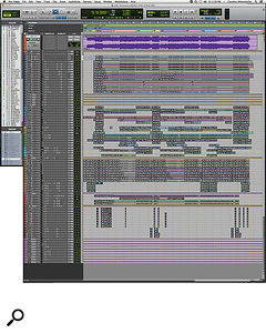This composite screen capture shows the entire Pro Tools session for Claudius Mittendorfer's mix of 'Victorious'.