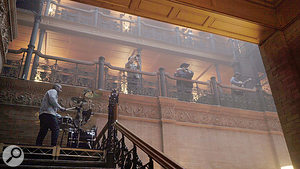 As the video builds, more and more musicians are revealed in the galleries of the Bradbury Building.