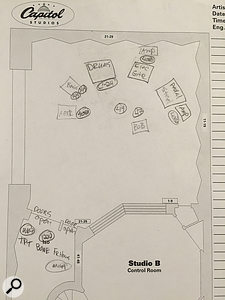 This setup sheet drawn by Al Schmitt's assistant, Chandler Harrod, shows the arrangement of the musicians within the live room. The brass section, where used, were in the isolation booth but with the door open. Note that two mics are shown on the bass in this drawing, but only one was in fact used.