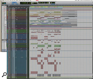 This composite Pro Tools Edit Window screen capture shows the entire mix session for 'Sorry'.