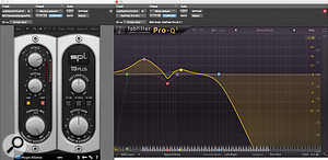 The kick drum sound heard in the track is layered from several different elements. This one provides the main low-frequency content. The SPL Transient Designer plug-in is used to reduce the ringing sustain, while the EQ rolls off everything above 500Hz, allowing the upper-mid aspect of the drum sound to come from other samples.